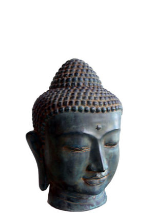 bronze buddha kopf urne