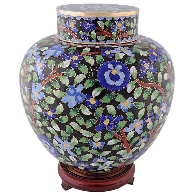 cloisonne auf kopfer urne flower power