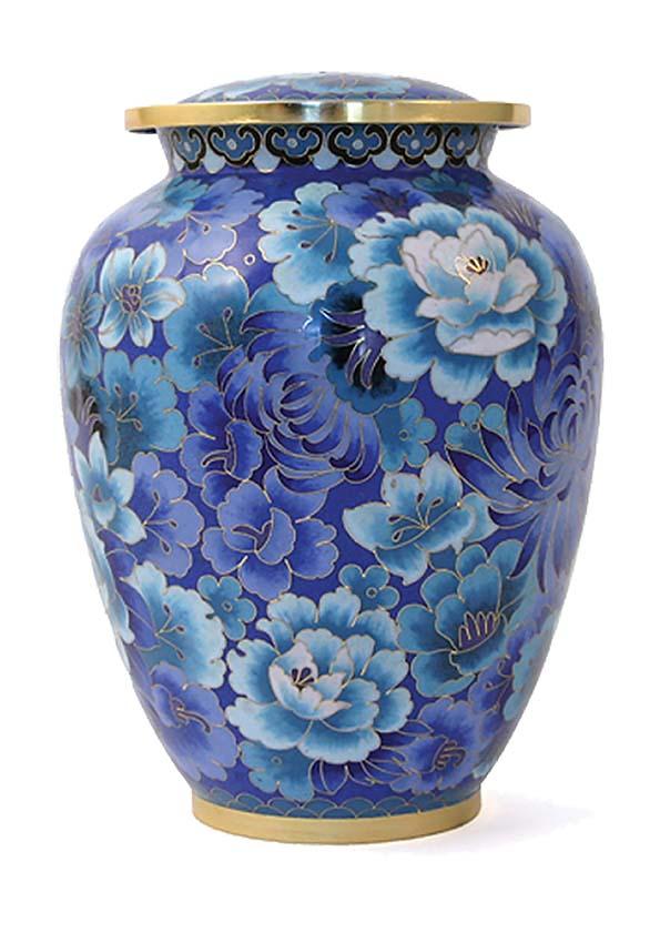 cloisonne urne elite floral blau
