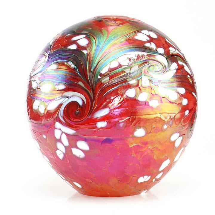grosse kristallglaser urne kugel elements red liter eru ered