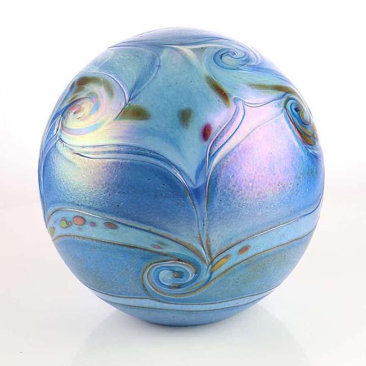 kleine kristallglaser urne kugel elements blue