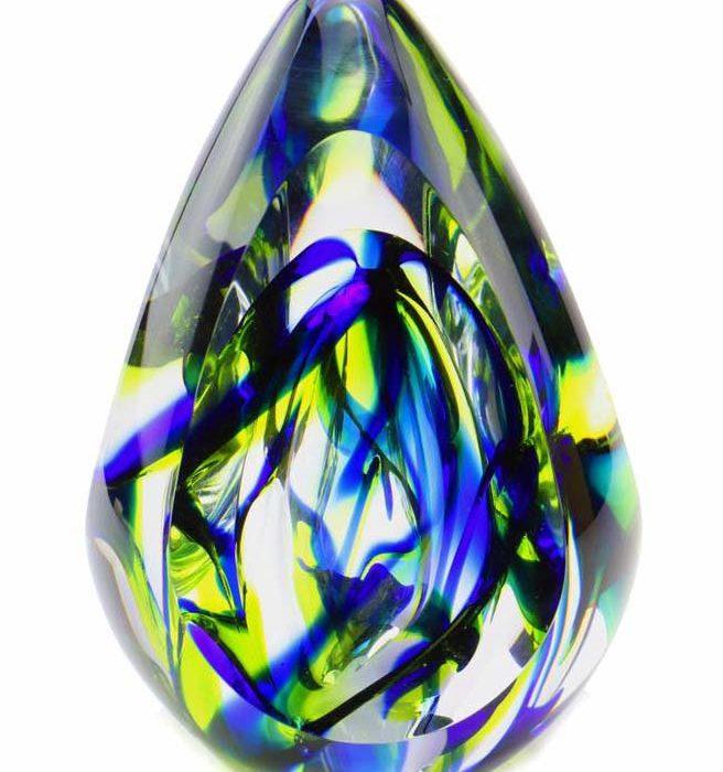 kristallglaser D premium urne aurora blau
