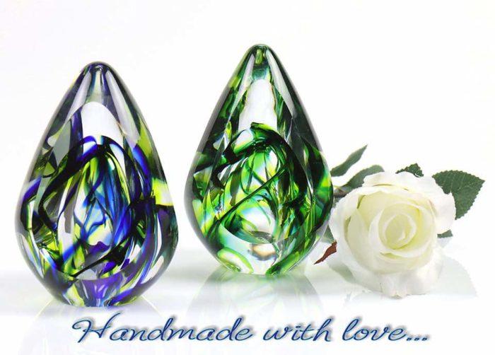 kristallglaser D premium urne aurora waldgrun