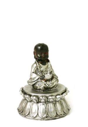 mini buddha urne sitzender kindermonch auf lotus asbox