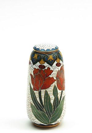 mini urne cloisonne auf kupfer