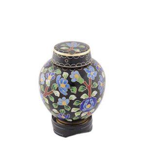 mini urne cloisonne auf kupfer flower power