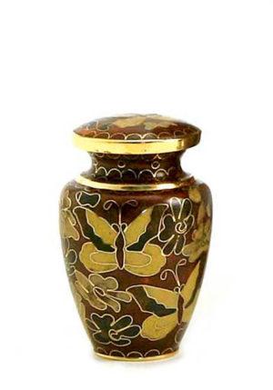 mini urne cloisonne goldene schmetterling