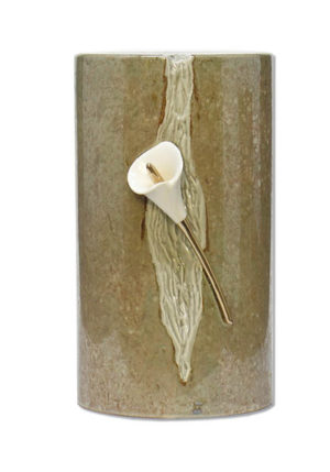 keramische urne mit lilie liter wd utw