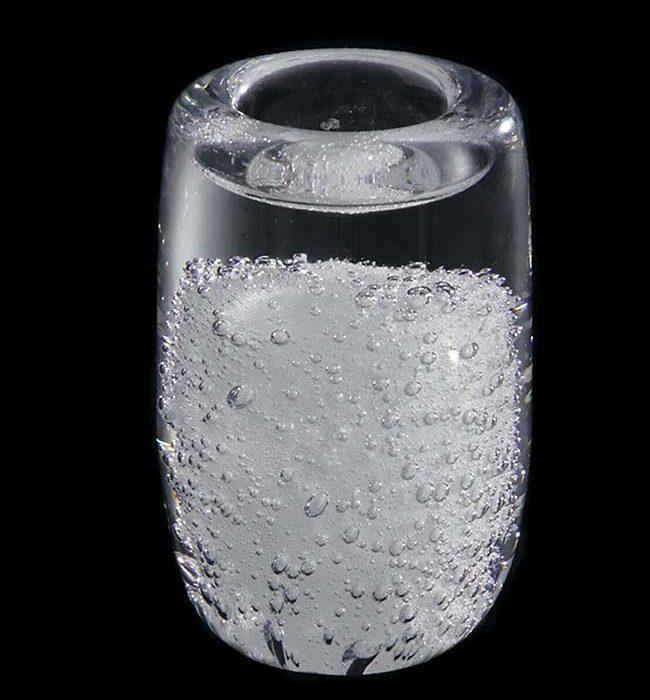 kleine kristallglaser urne mit wachslicht stardust