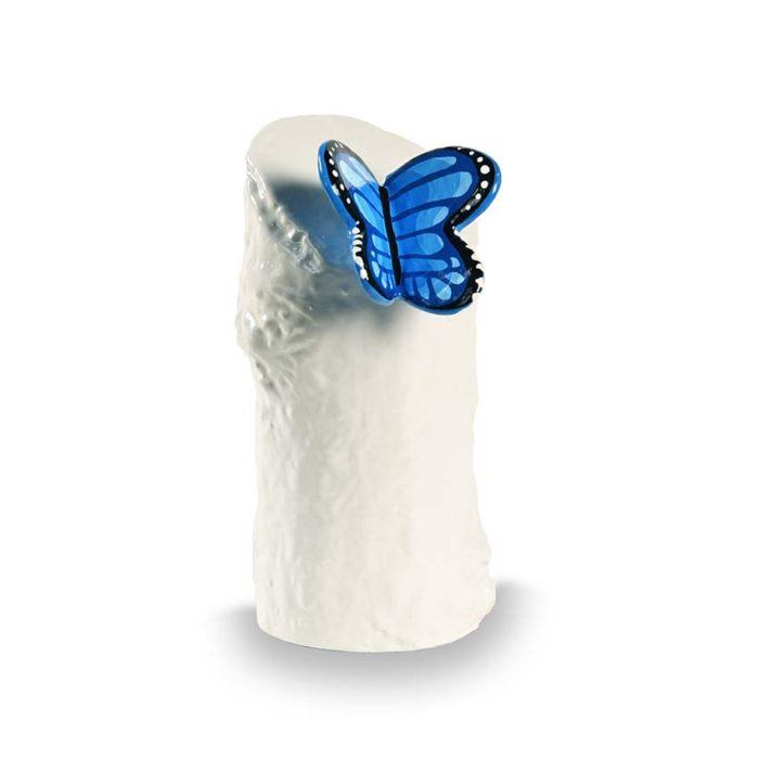 kunstharz mini tierurne blauer schmetterling
