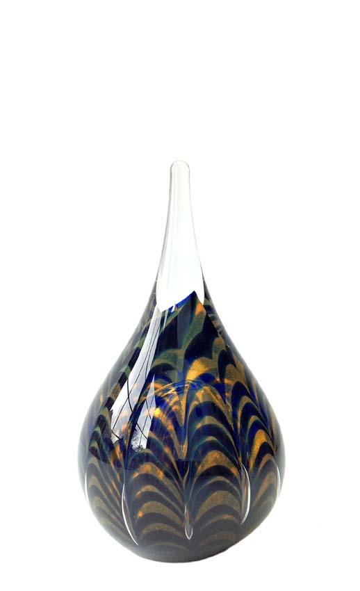 welligkeit mini tierurne dunkelblau cognac wellen