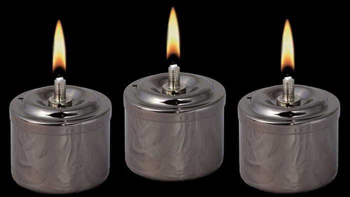 3 x Edelstahl Öllampe Grabschmuck