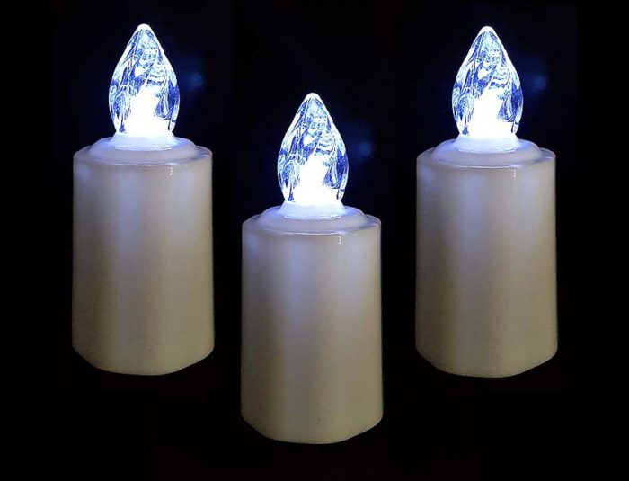 3x LED Kerzen Grabschmuck