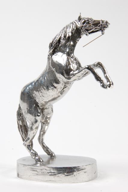 Mini Tierurne oder Aschebild Hochfliegendes Pferd Silberne (0,09 Liter) Tierurnen