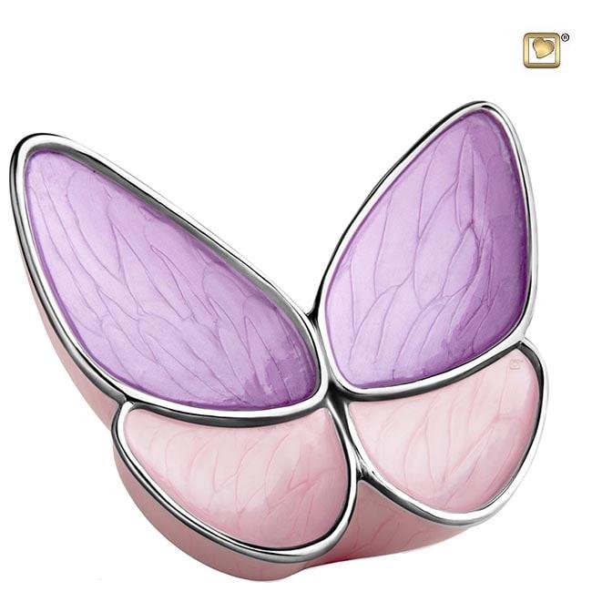 Große Schmetterling Tierurne – Lila/Rosa (3.1 Liter) Schmetterlinge für Asche aus Messing