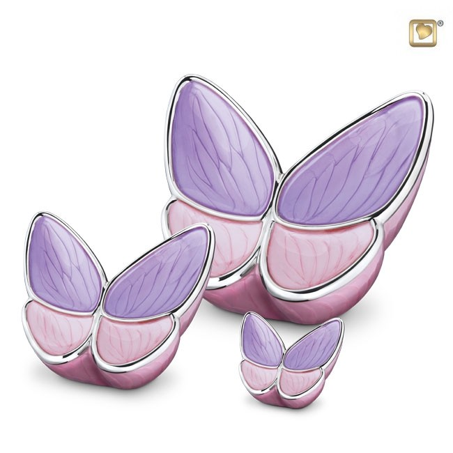 Schmetterling Tierurne Set – Rosa (3.1, 0.4 und 0.05 Liter) Schmetterlinge für Asche aus Messing
