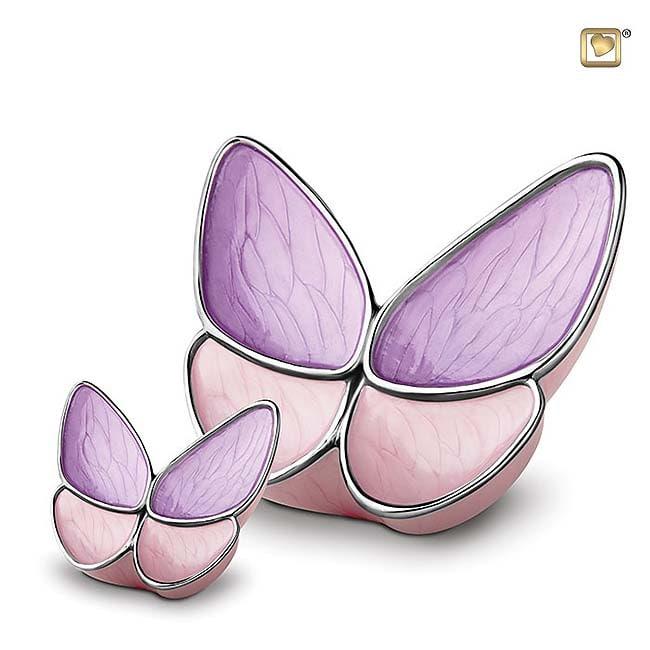 Schmetterling Tierurne Set – RosaLila (3.1 und 0.05 Liter) Schmetterlinge für Asche aus Messing