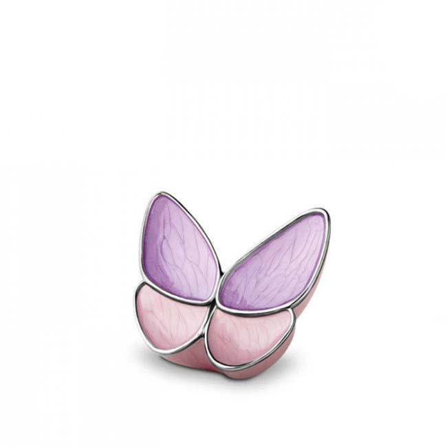 Mini Schmetterling Tierurne – Lila/Rosa (0,05 Liter) Schmetterlinge für Asche aus Messing