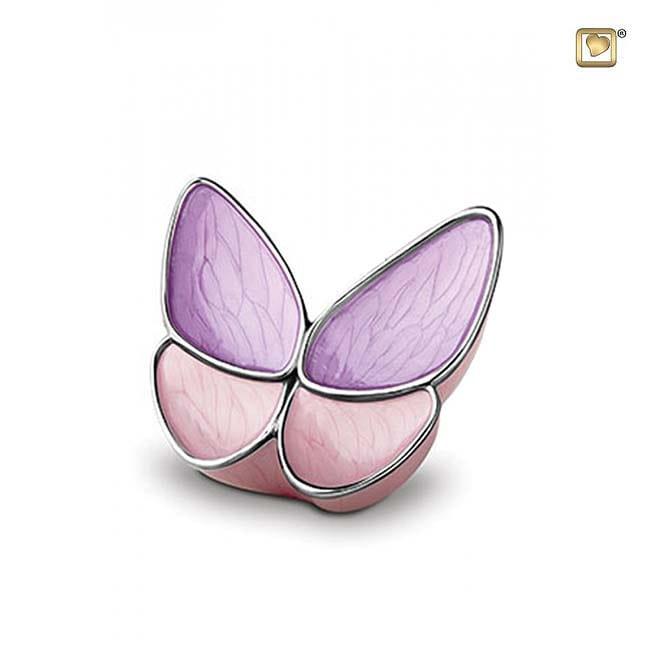 Kleine Schmetterling Tierurne – Lila/Rosa (0,4 Liter) Schmetterlinge für Asche aus Messing