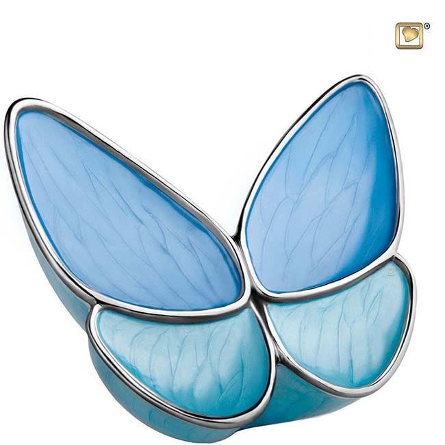Große Schmetterling Tierurne – Blau (3,1 Liter) Schmetterlinge für Asche aus Messing