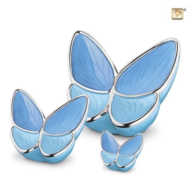 Schmetterling Tierurne Set – Blau (3.1, 0.4 und 0.05 Liter) Schmetterlinge für Asche aus Messing