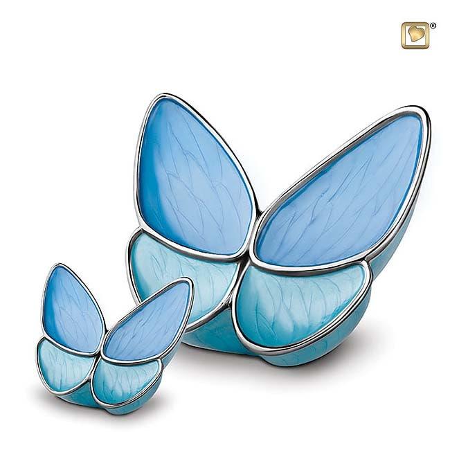 Schmetterling Tierurne Set – Blau (3.1 und 0.05 Liter) Schmetterlinge für Asche aus Messing