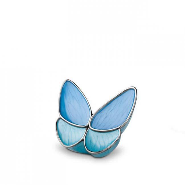 Mini Schmetterling Tierurne – Blau (0,05 Liter) Schmetterlinge für Asche aus Messing