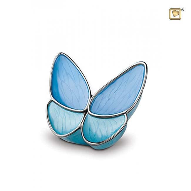 Kleine Schmetterling Tierurne – Blau (0,4 Liter) Schmetterlinge für Asche aus Messing