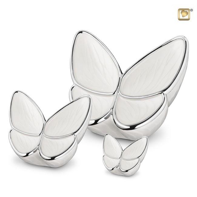 Schmetterling Tierurne Set – CremeWeiß (3.1, 0.4 und 0.05 Liter) Schmetterlinge für Asche aus Messing