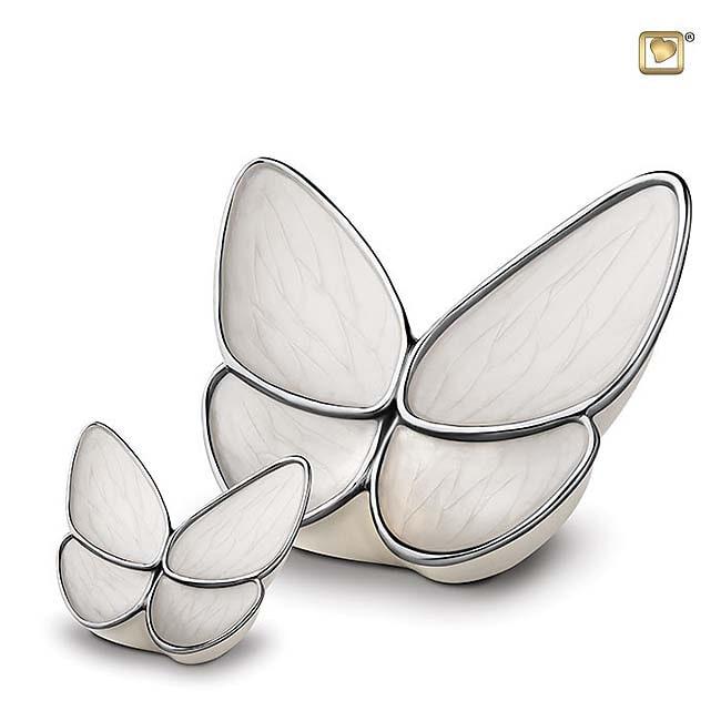Schmetterling Tierurne Set – CremeWeiß (3.1 und 0.05 Liter) Schmetterlinge für Asche aus Messing