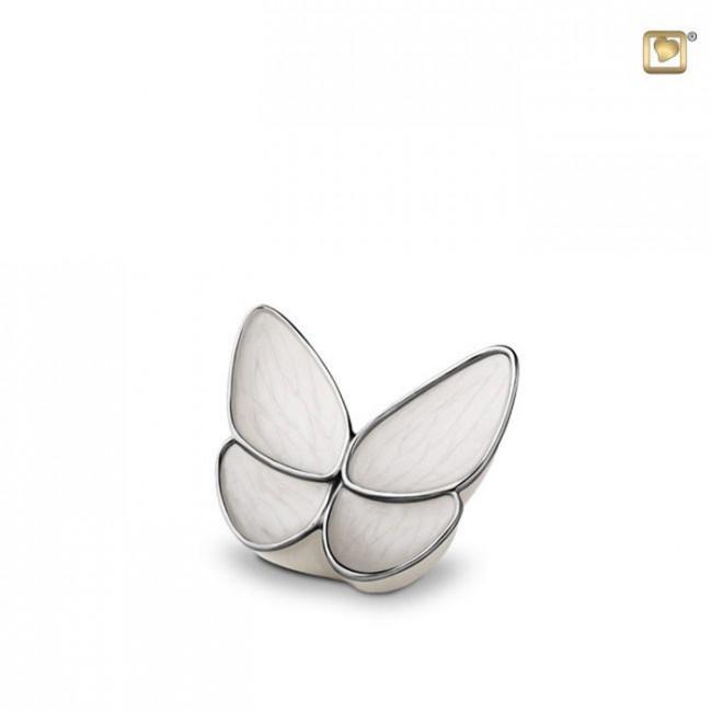 Mini Schmetterling Tierurne – CremeWeiß (0,05 Liter) Schmetterlinge für Asche aus Messing