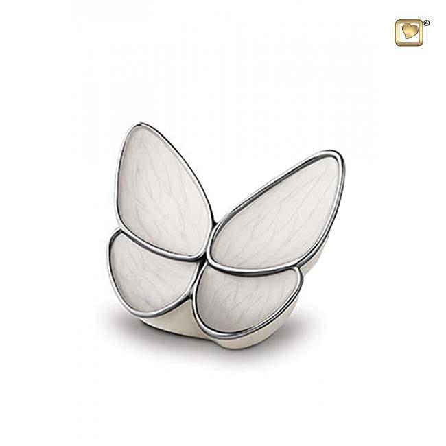 Kleine Schmetterling Tierurne – CremeWeiß (0,4 Liter) Schmetterlinge für Asche aus Messing