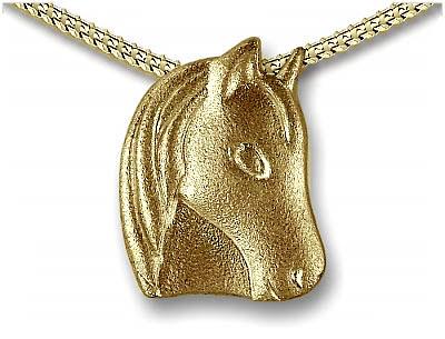 Anhänger Pferdekopf Gold Ascheschmuck Tiere