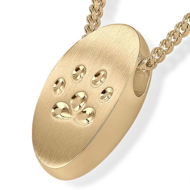 Anhänger Pfotenabdrücke Kleine – Gold Asche Schmuck