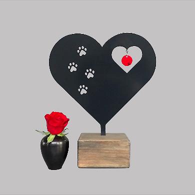 Tierurne Herz mit Pfotenabdrücke – Schwarz oder Weiß (0,015 Liter) Kleine Urnen für Kleintiere