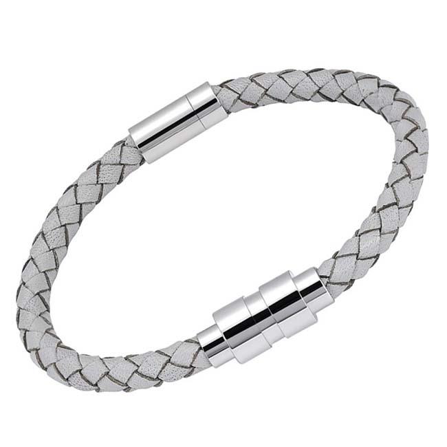 Weiß Leder Aurora Armband, rundes RVS Achsfach Asche Schmuck