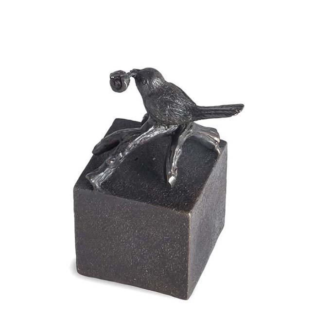 Bronze Mini Tierurne Vogel mit Rose (0,05 Liter) Bronzen Tierurne