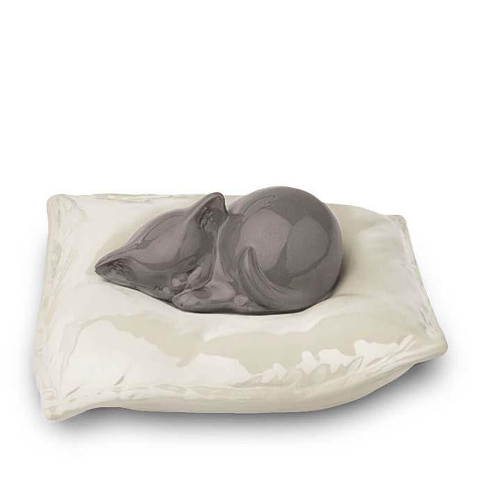 Graue Schlafende Katze auf Kissen Tierurne (0,8 Liter) Katzenurnen