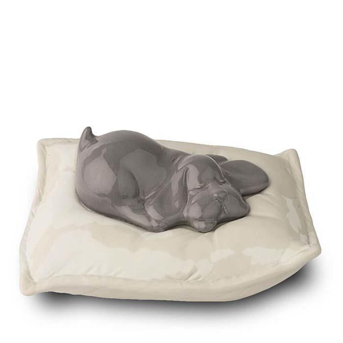 Graue Schlafender Hund auf Kissen Tierurne (0,8 Liter) Hundeurnen