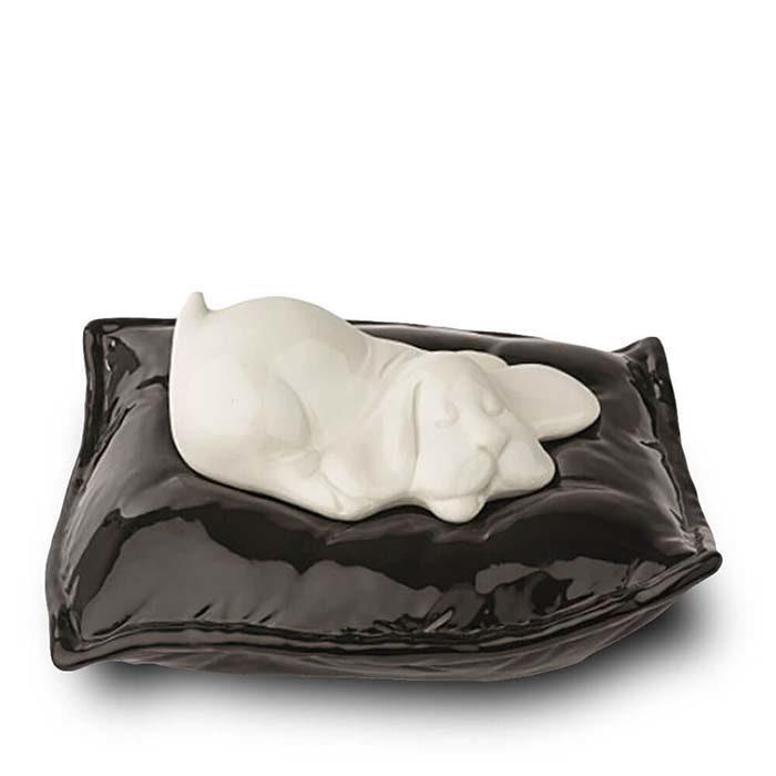 Weißer Schlafender Hund auf Kissen Tierurne (0,8 Liter) Hundeurnen