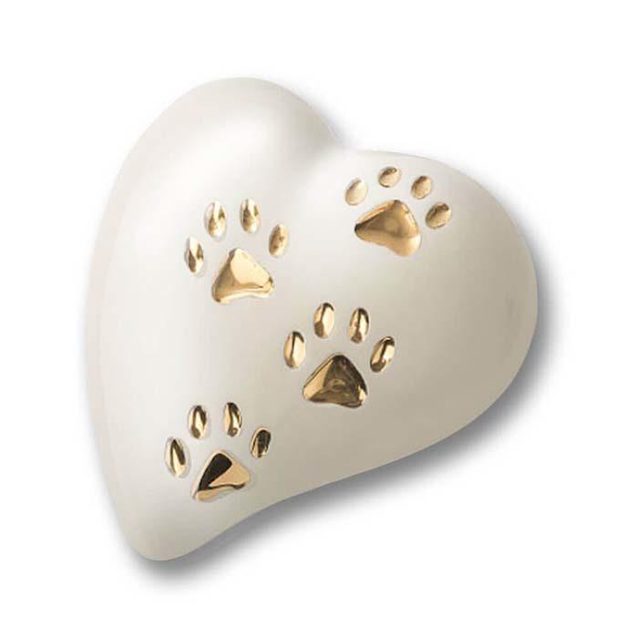 Flache Weiße Herz Tierurne, 4 Goldpfotenabdrücke (0,8 Liter) Herzförmige Tierurnen