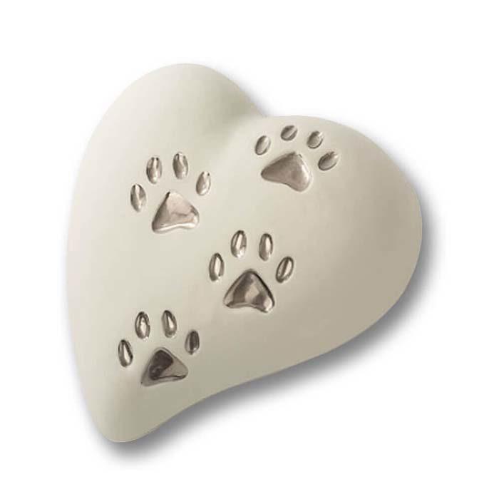 Flache Weiße Herz Tierurne, 4 Silberpfotenabdrücke (0,8 Liter) Herzförmige Tierurnen