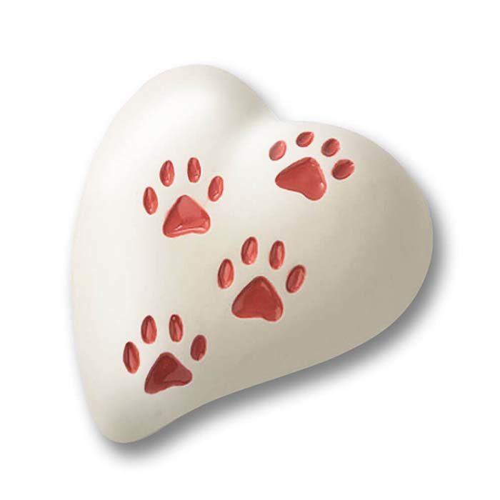 Flache Weiße Herz Tierurne, 4 Rotepfotenabdrücke (0,8 Liter) Herzförmige Tierurnen
