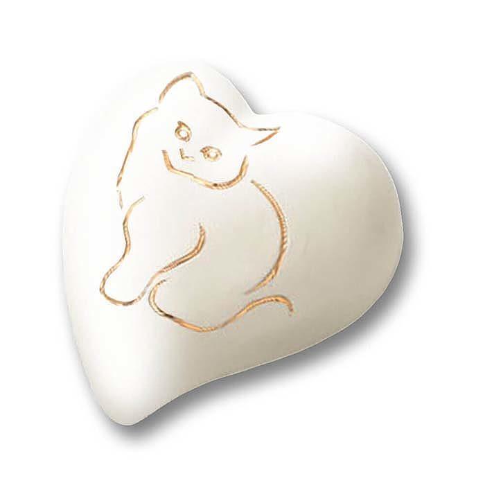 Flache Weiße Herz Tierurne Goldene Katze (0,8 Liter) Herzförmige Tierurnen