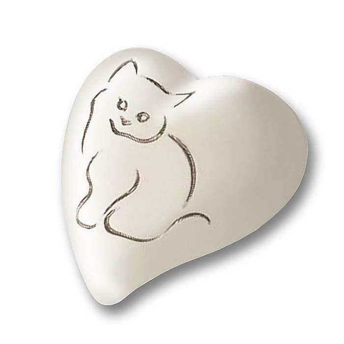 Flache Weiße Herz Tierurne Silberne Katze (0,8 Liter) Herzförmige Tierurnen