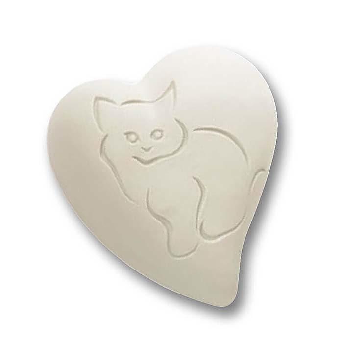 Flache Weiße Herz Tierurne Gekerbte Katze (0,8 Liter) Herzförmige Tierurnen