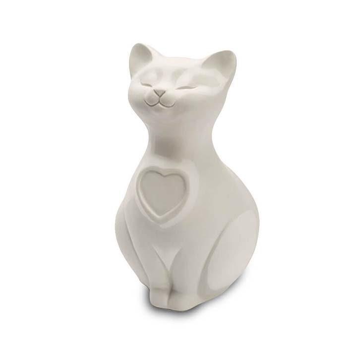 Katze Urne oder Aschebild Herz Weiß (0,8 Liter) Katzenurnen