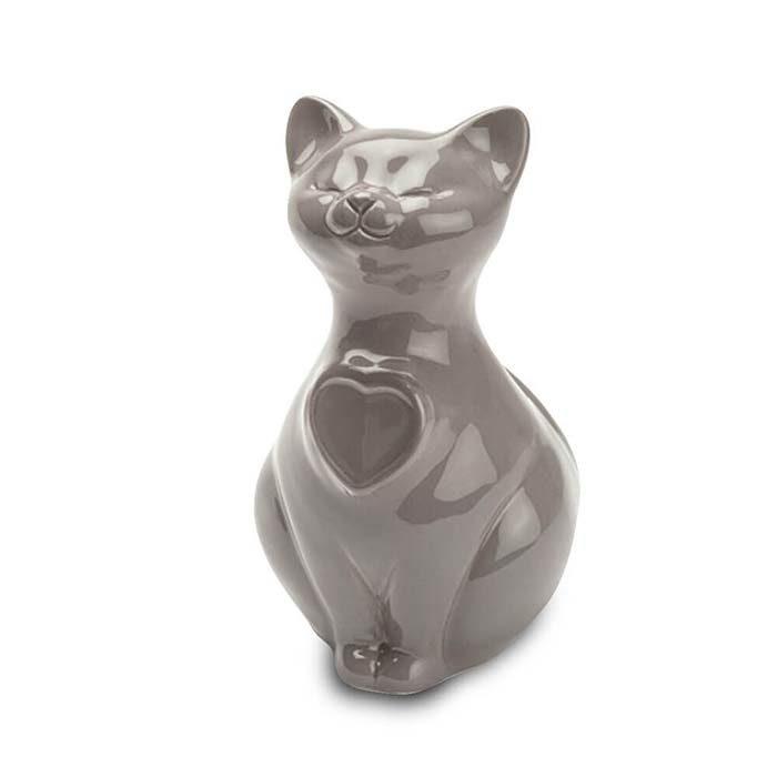 Katze Urne oder Aschebild Herz Grau (0,8 Liter) Katzenurnen