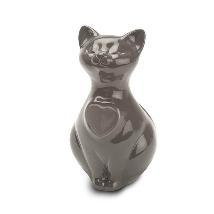 Katze Urne oder Aschebild Herz Braun (0,8 Liter) Katzenurnen