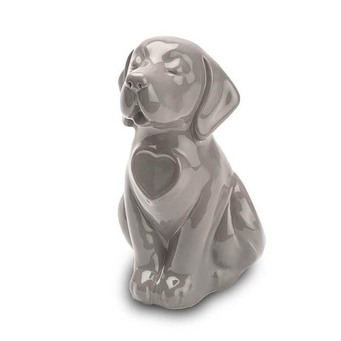 Hunde Urne oder Aschebild Herz Grau (0,8 Liter) Hundeurnen
